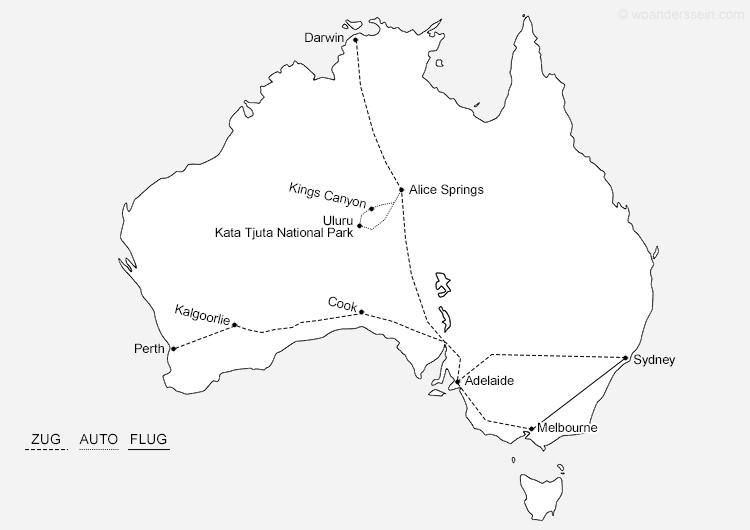 Unsere Reiseroute durch Australien