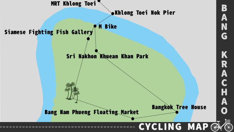 Karte Fahrradroute Bangkrachao Bangkok