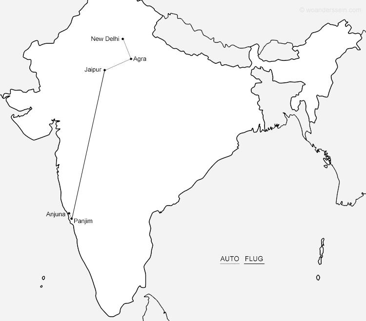 Unsere Reiseroute durch Indien