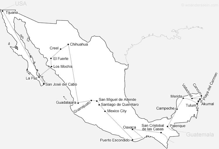 Reiseroute durch Mexiko