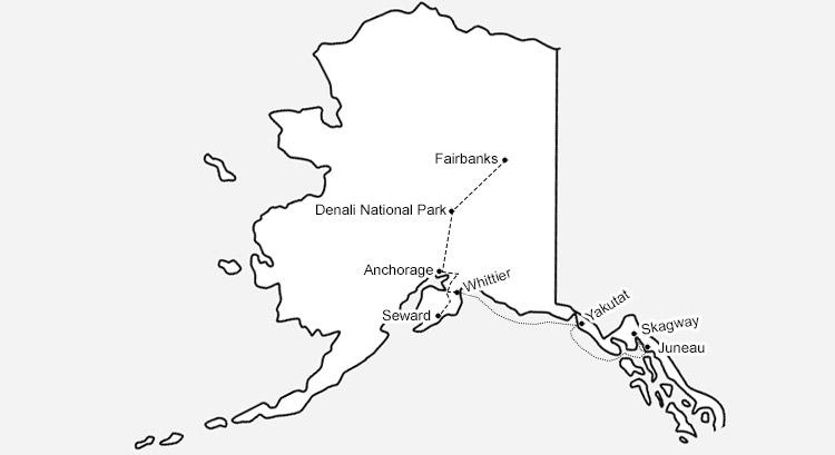 アラスカ旅のルート