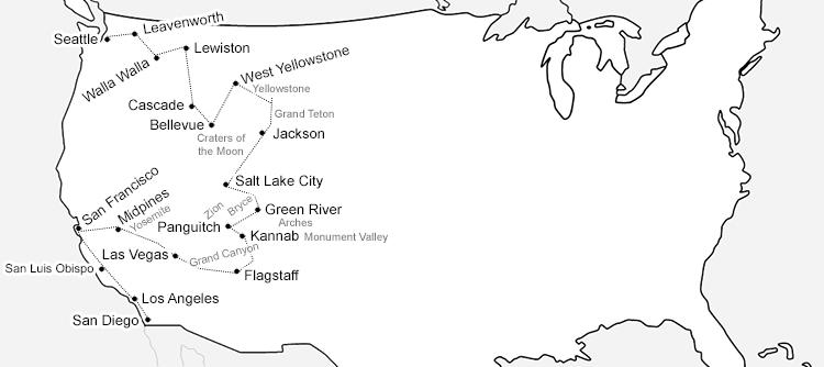 Roadtrip Route durch den Westen der USA